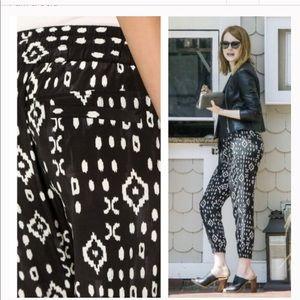 Pam & Gela • Ikat Cropped Silk Pants Black White
